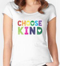 Wählen Sie freundliches T-Shirt - Anti-Mobbing - Herz-T-Shirt - Regenbogen Tailliertes Rundhals-Shirt