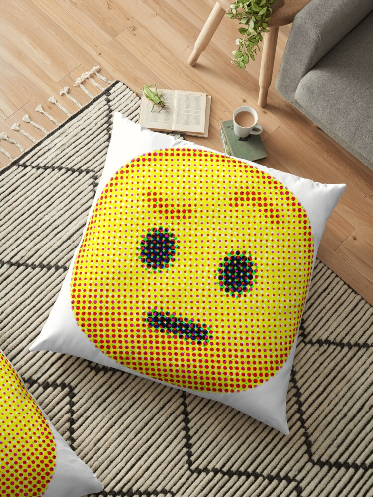 Emoji Suspicious Face With Raised Eyebrow Floor Pillows By