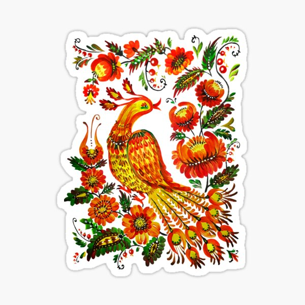 Firebird Petrykivka Ukrainian art Sticker