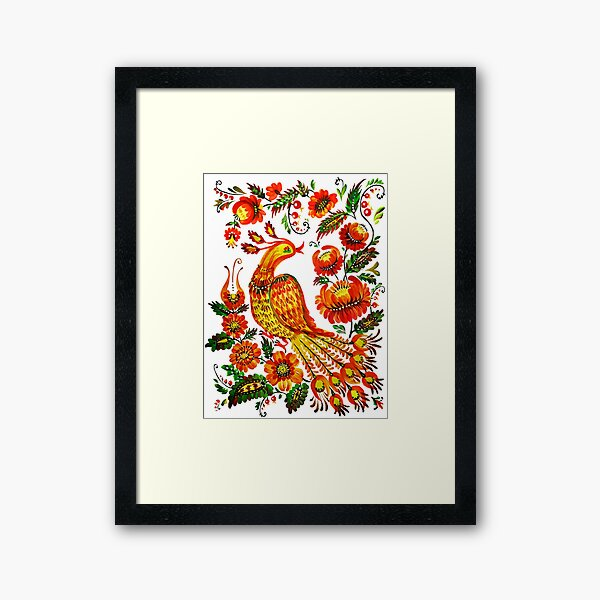 Firebird Petrykivka Ukrainian art Framed Art Print