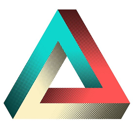 impossible penrose triangle illusion design posters by spikyharold