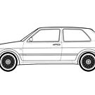 MK2 Golf GTI Line drawing artwork by RJWautographics