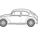 Beetle Car Line drawing artwork  by RJWautographics