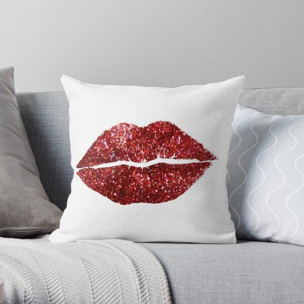 Lèvres scintillantes rouges Coussin