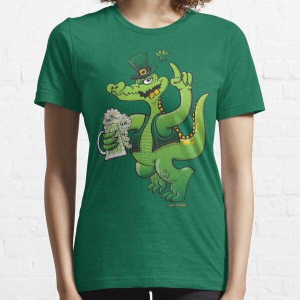 Saint Patrick's Day Crocodile Drinking Beer Essential T-Shirt