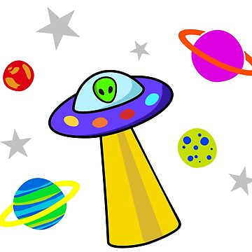 UFO with Alien and Planets by mollypopart