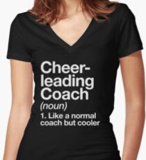 Cheerleading Coach Funny Definition Trainer Gift Design Women's Fitted V-Neck T-Shirt