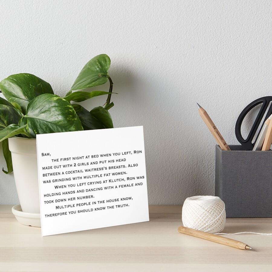 Anonymer Brief an Sammi Galeriedruck