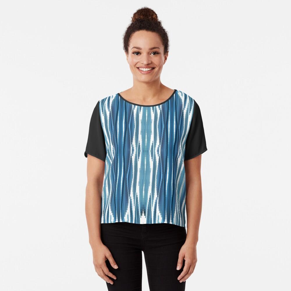 Blue symmetrical chaotic pattern Chiffon Top