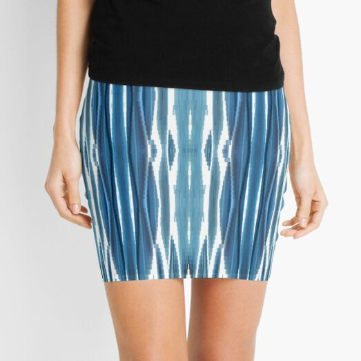 Blue symmetrical chaotic pattern Mini Skirt