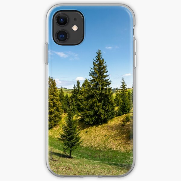 spruce forest on grassy hills iPhone Soft Case