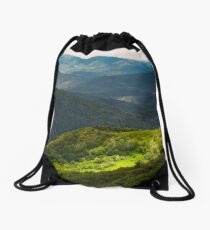 grassy slopes of Carpathian mountains Drawstring Bag