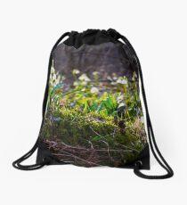 snowflake, first flowers of spring Drawstring Bag