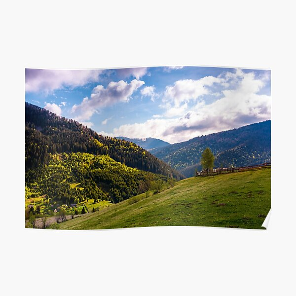 beautiful scenery in mountainous rural area Poster