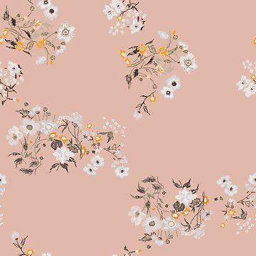 Field herbs daisy textile print by IrinaShi