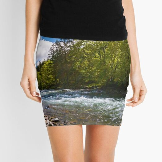 forest river in mountains Mini Skirt