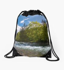 forest river in mountains Drawstring Bag