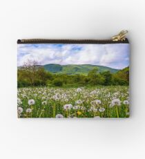dandelion field at sunrise in mountains Studio Pouch