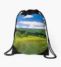 grassy rural fields on mountain slopes Drawstring Bag