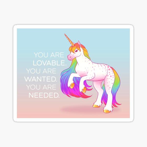 """You Are Lovable"" Rainbow Unicorn Sticker"