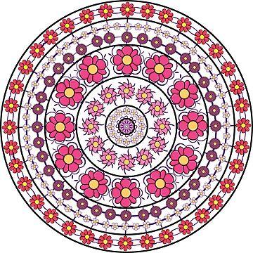 hand drawn flowers mandala  by KIRART