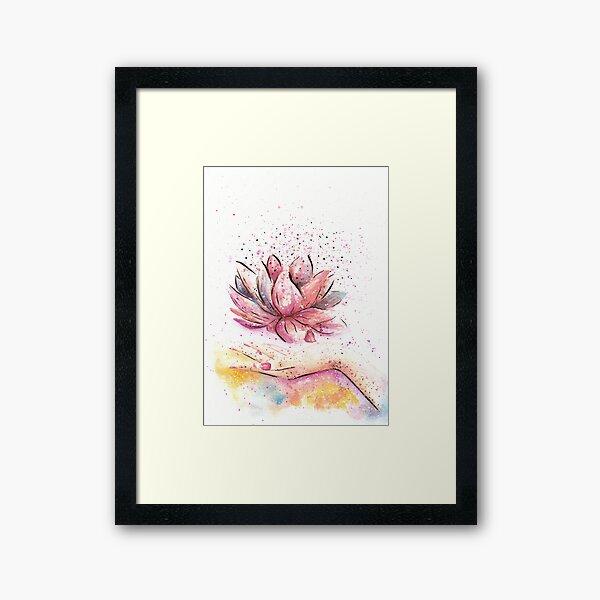 Lotus Flower Watercolor Art Framed Art Print