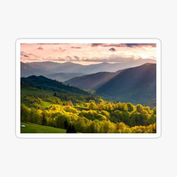 gorgeous mountainous countryside at sunset Sticker