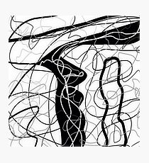 Black & white, tangled abstract, scribble art Photographic Print