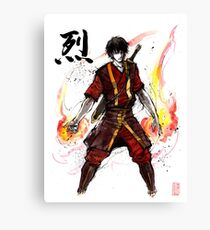 Zuko from Avatar with sumi ink and watercolor Canvas Print