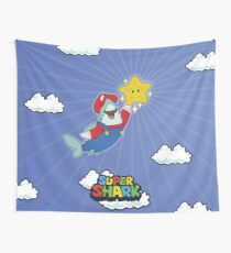 GamerShark - Byte Plays Super Shark Bros Wall Tapestry
