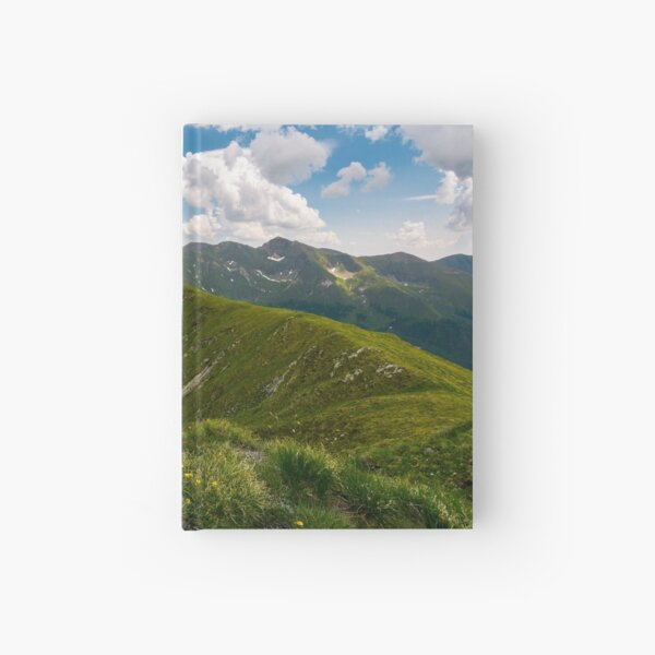 valley with snow in summer mountains Hardcover Journal