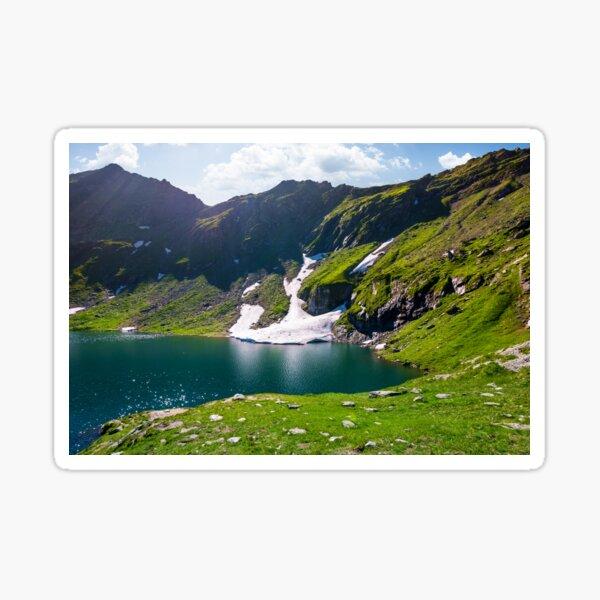 lake Balea in Fagaras mountains on a bright sunny  Sticker