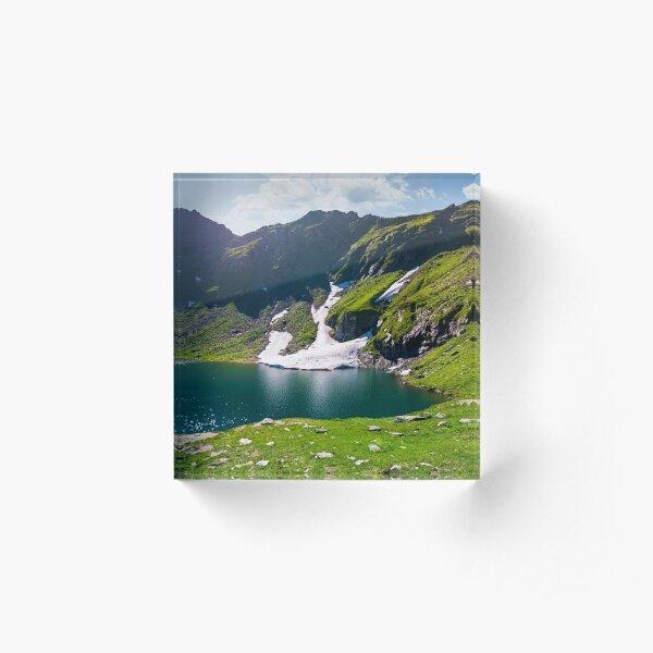 lake Balea in Fagaras mountains on a bright sunny  Acrylic Block