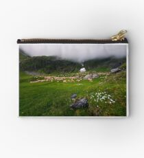 herd of sheep on a grassy meadow Studio Pouch