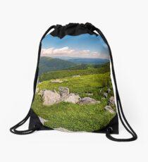hillside of Runa mountain in summer Drawstring Bag