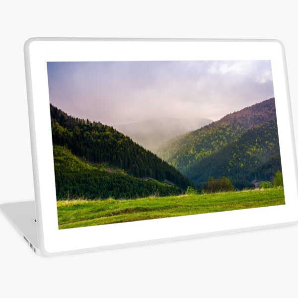 mountains on a cloudy springtime day Laptop Skin
