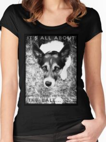 Terrier Obsession: It's All About The Ball - Black and White Remix Women's Fitted Scoop T-Shirt