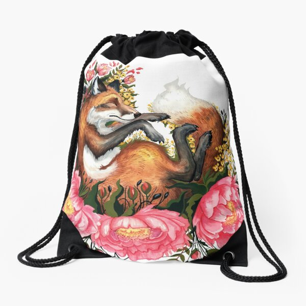 Fox and Flowes in White Drawstring Bag