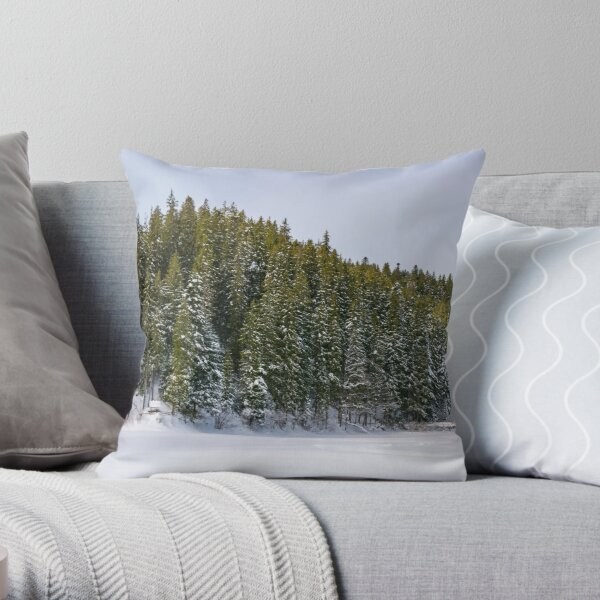 panorama of coniferous forest in winter Throw Pillow