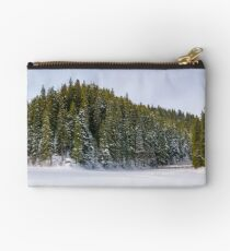 panorama of coniferous forest in winter Studio Pouch