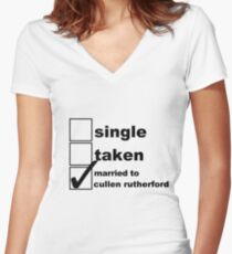 Single, Taken, Married to Cullen Women's Fitted V-Neck T-Shirt
