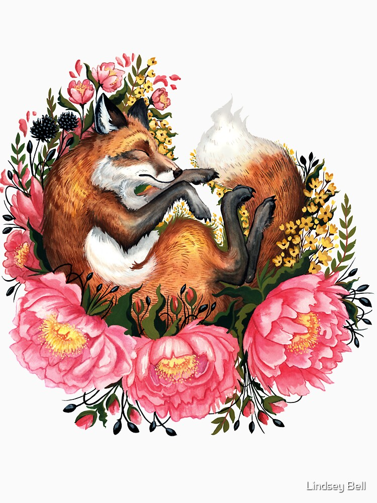 Fox and Flowers in Green by LindseyBellArt