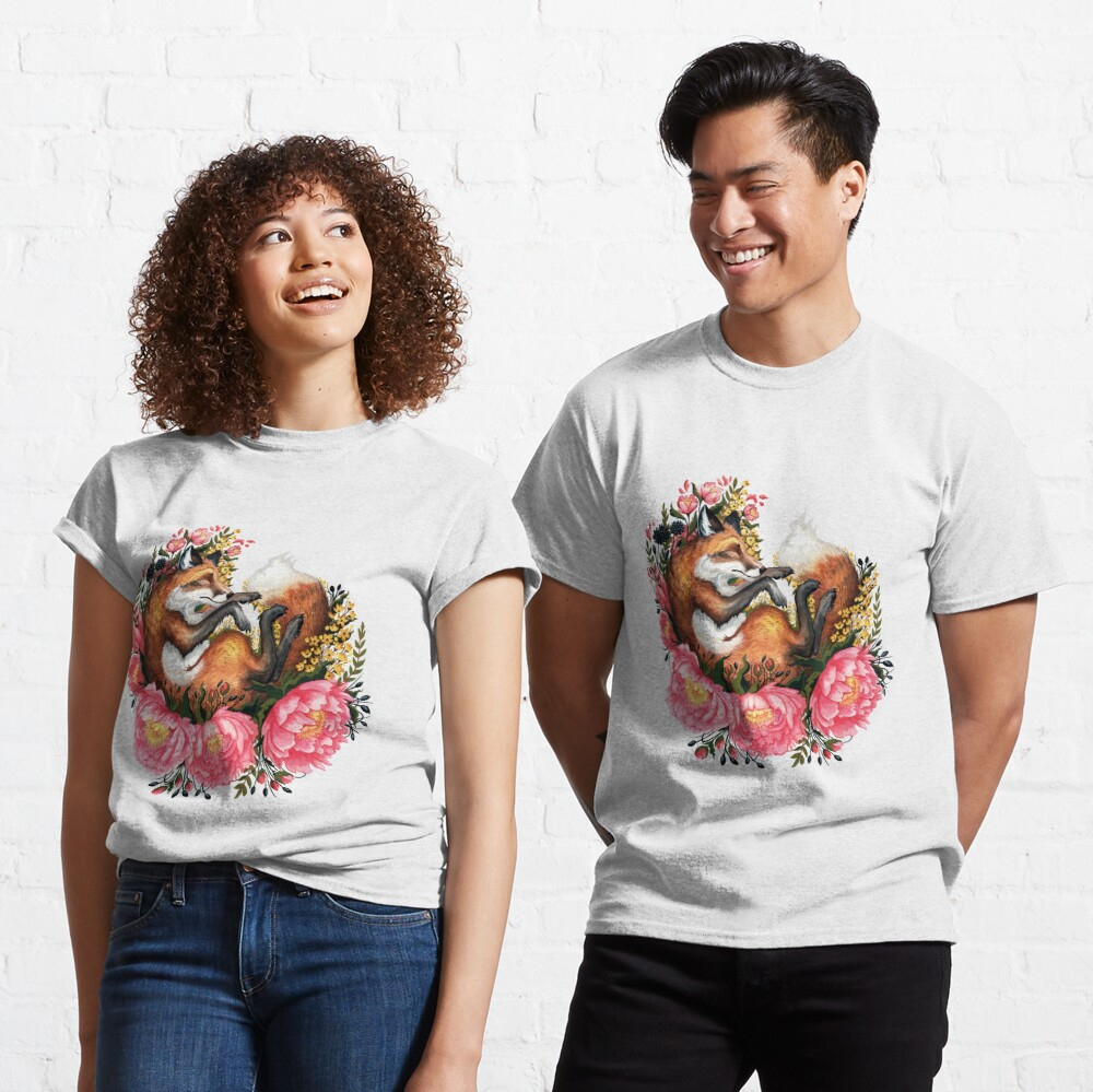 Fox and Flowers in Green Classic T-Shirt