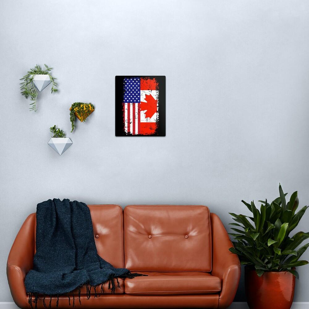 Rustic Canadian American Flag Metal Print