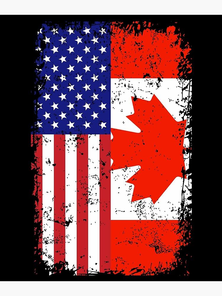 Rustic Canadian American Flag by printedkicks
