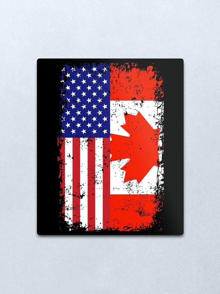 Alternate view of Rustic Canadian American Flag Metal Print