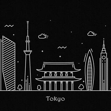 Tokyo Skyline Minimal Line Art Poster by geekmywall