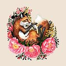 Fox and Flowers in Cream by Lindsey Bell