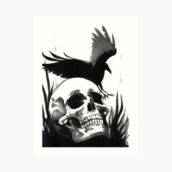 Inkwash Skull and Crow Art Print