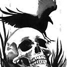 Inkwash Skull and Crow by FaerytaleWings